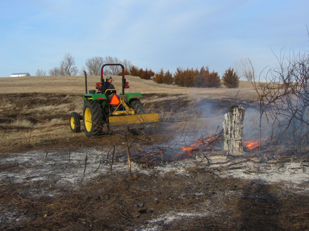 Carey managing the brush pile